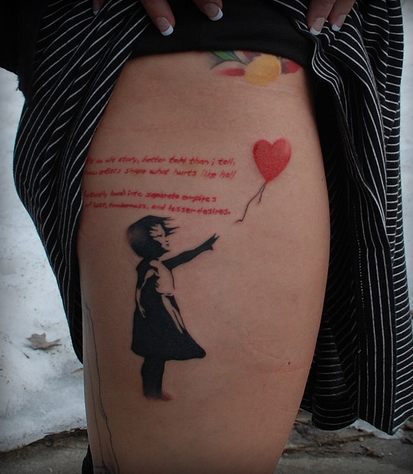 These are all examples of tattoos featuring some of Banksy's stencil art.