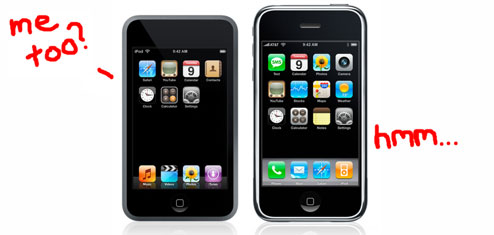 ipod touch into and iphone