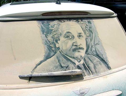 Einstein, einstein dirty car, scott wade einstein art, dirty car drawing