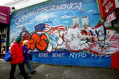 911 Mural Wrecked
