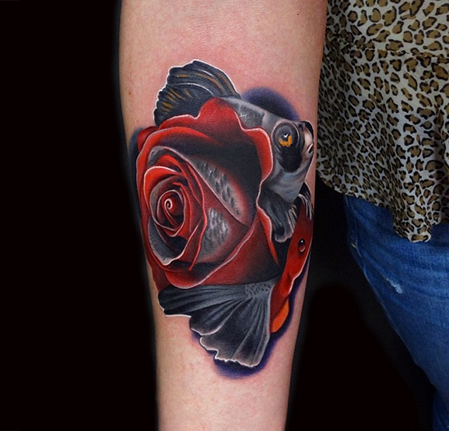 Andres Acosta fish rose tattoo