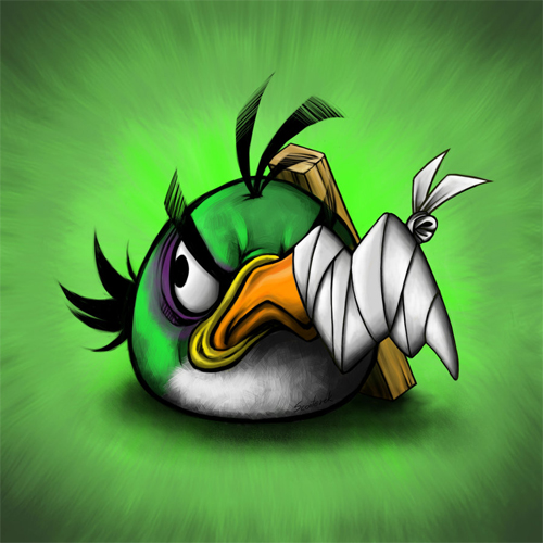 angry birds in pain broken nose