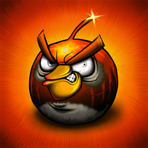 angry birds in pain red