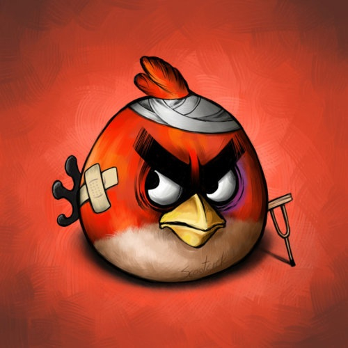 angry birds in pain illustrations