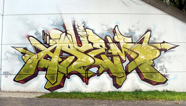 asuem graffiti wall by geser