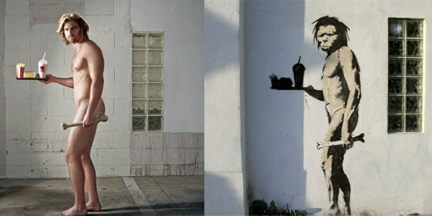 banksy caveman recreated photography