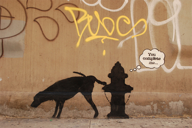 banksy dog urinating