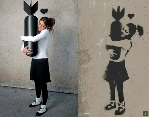 banksy girl hugging bomb photography