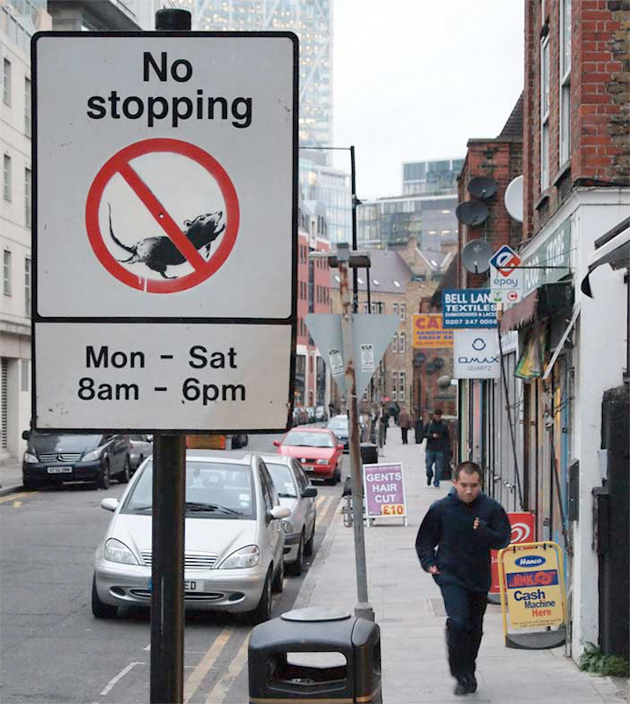 banksy no stopping sign london