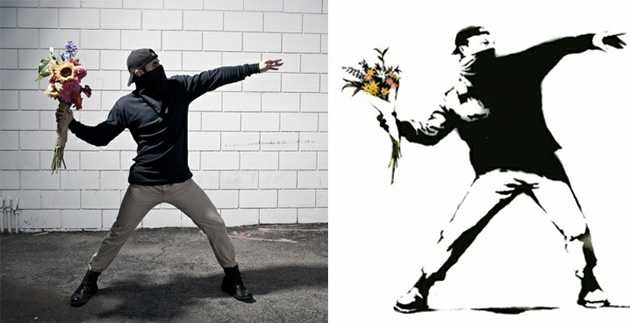 banksy photography recreation throwing flowers
