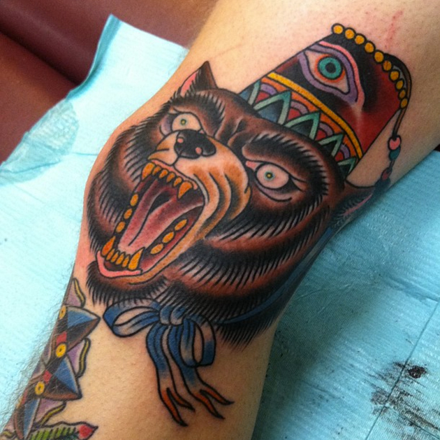 bear knee tattoo by Chris Boilore
