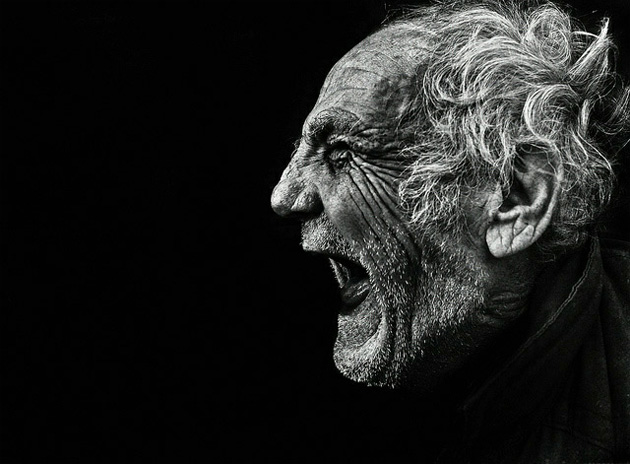 black and white photography old man