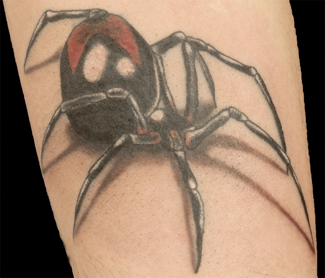 Widow spider done by the tattoo artist Paulo Madeira from Ouch Tattoo.