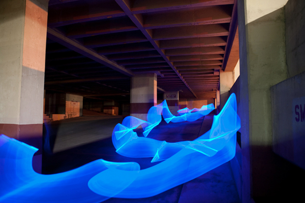 blue light painting photography