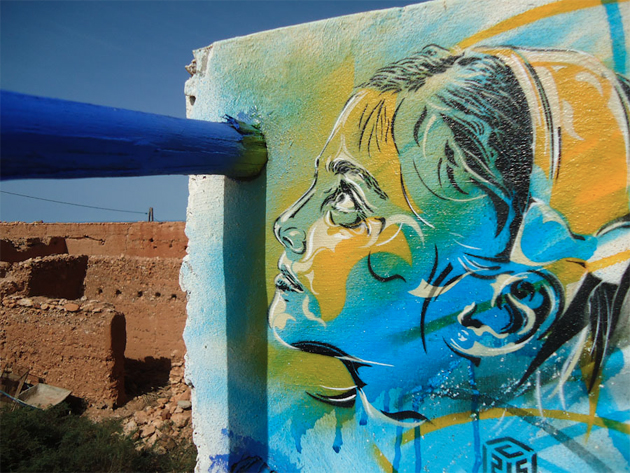 c215 stencil art in morocco