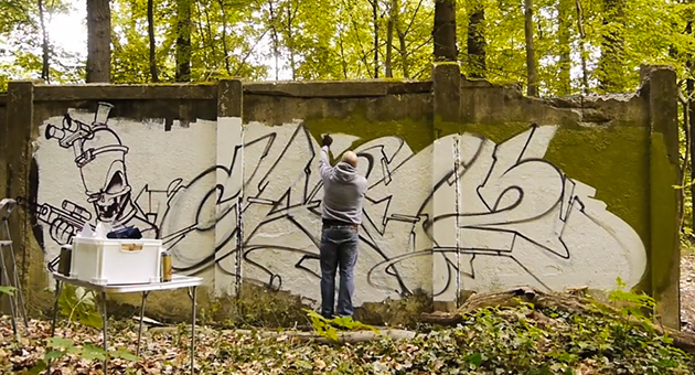 can2 graffiti in the forest