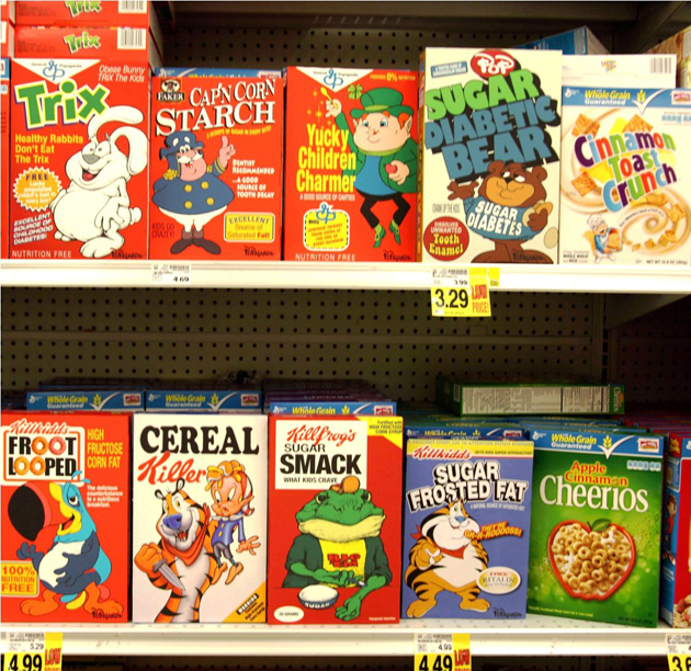 cereal boxes on shelf in LA