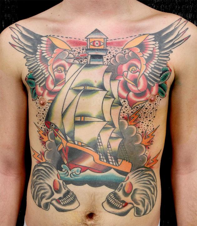 chest ship tattoo myke chambers