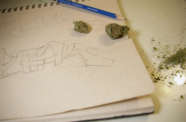 chuck graffiti sketches and marijuana