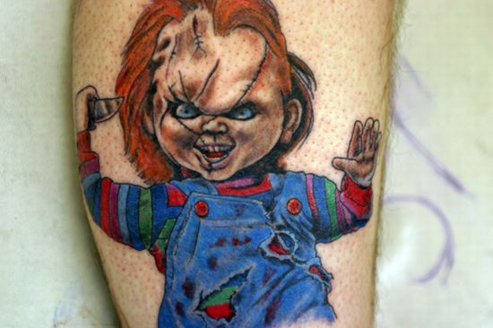 really cool tattoos. really cool Chucky tattoo.