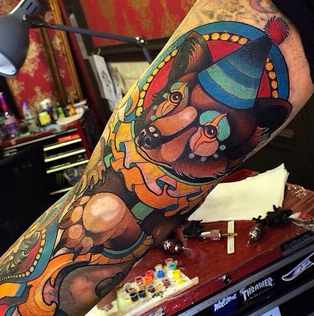 circus bear tattoo by joe frost