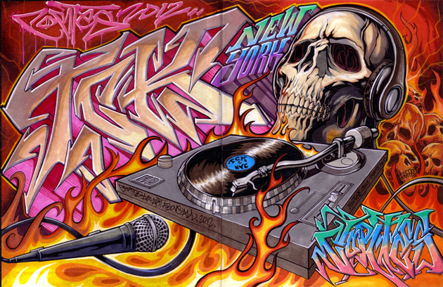 cortes 2012 skull turntables drawing