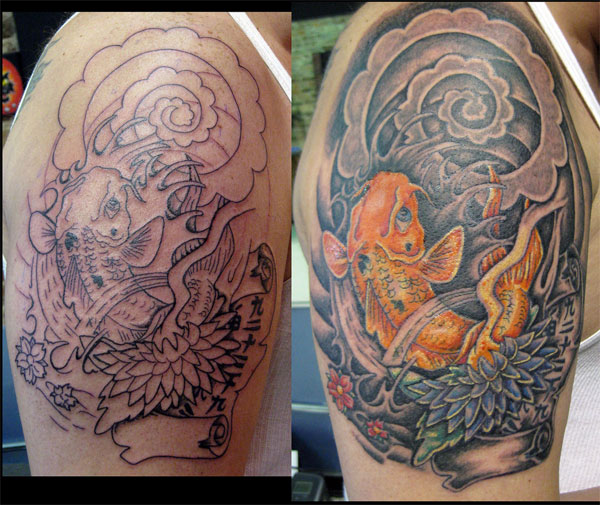 koi fish tattoo sleeve. Koi Fish Half Sleeve Tattoo