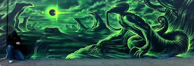 dank graffiti painting green