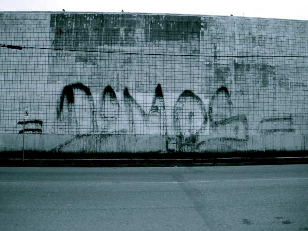 demos fire extinguisher graffiti tag