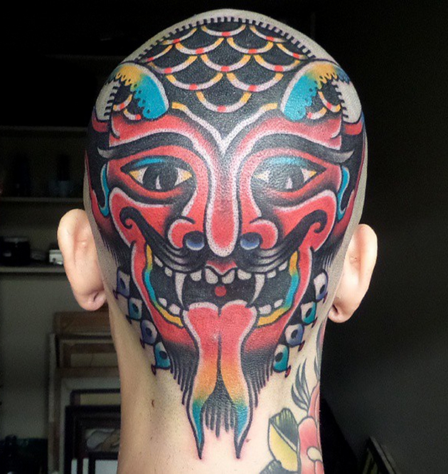 Devil head tattoo by Dustin Barnhart | Head Tattoos ...