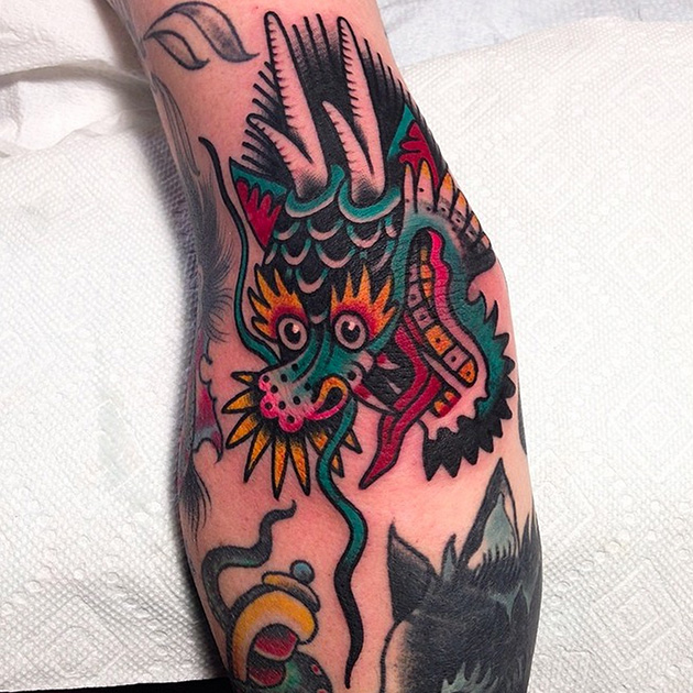 dragon head tattoo austin maples