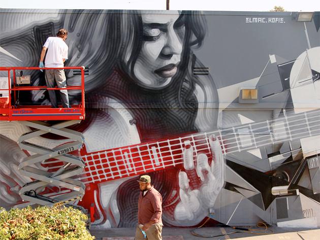 el-mac and kofie painting new mural in la