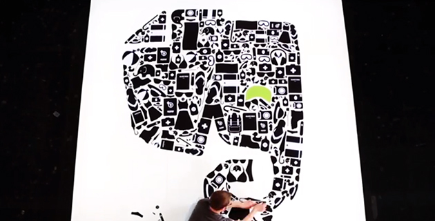 evernote logo out of shapes