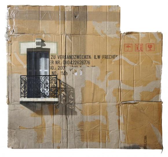 evol cardboard cityscape stencil