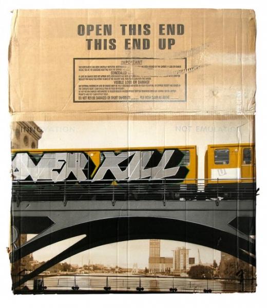 evol train graffiti cardboard
