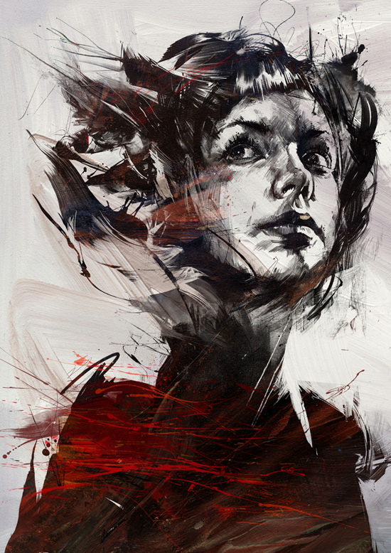 female illustration by russ mills