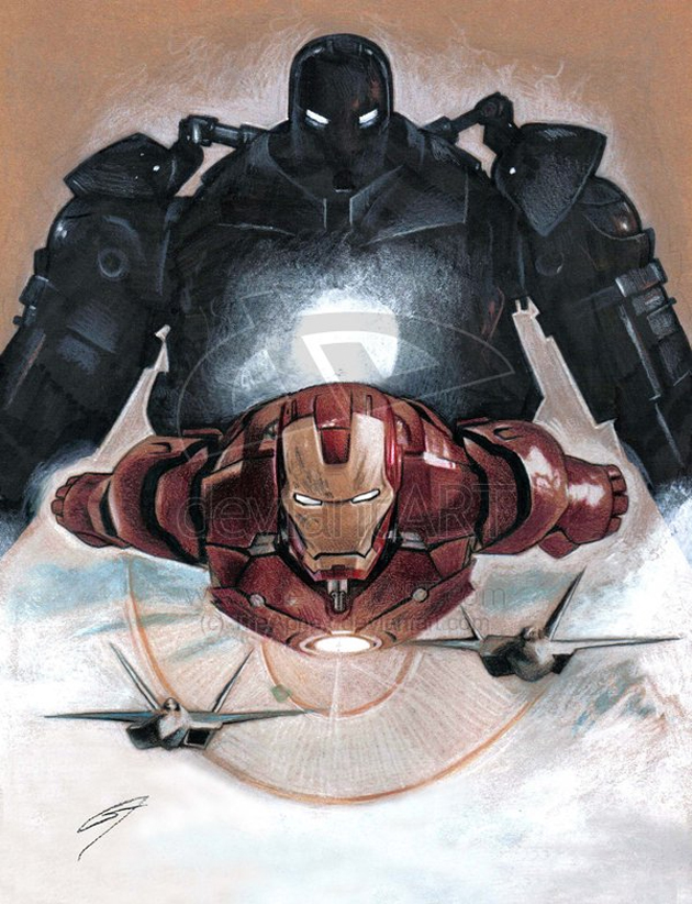 flying iron man illustration