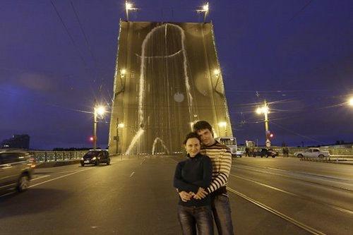 giant penis on bridge