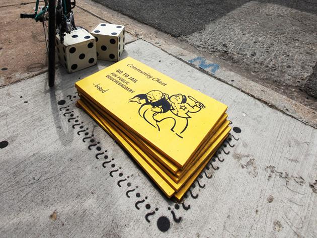 go to jail cards street art