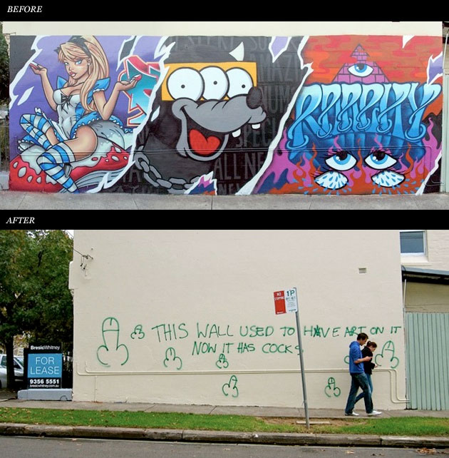 graffiti before and after