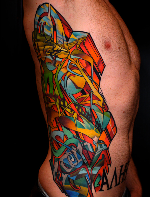 graffiti tattoo rib cage clae welch