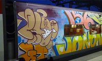 Graffiti on the Thalys Train