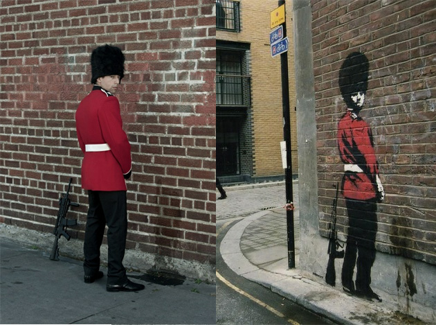 guard peeing banksy recreated photography