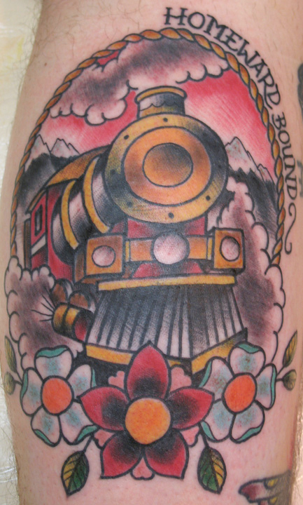 tattoo tuesday we came across this tattoo of a train engine the tattoo