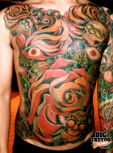 john montgomery chest piece tattoo