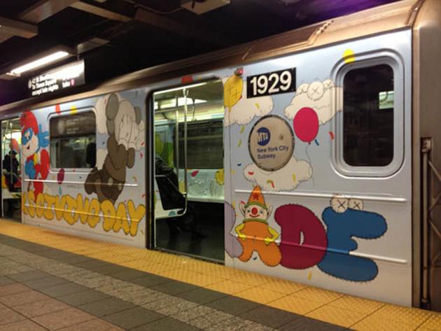kaws graffiti new york subway