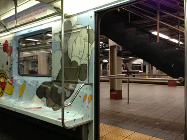 kaws subway art inside