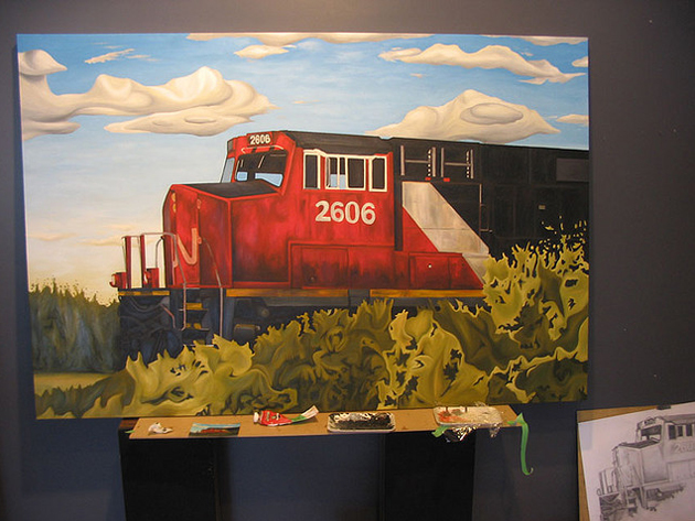 kris moffatt cn engine canvas painting