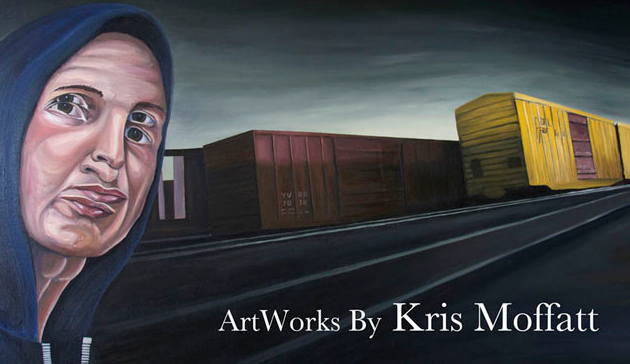kris moffatt train yard canvas