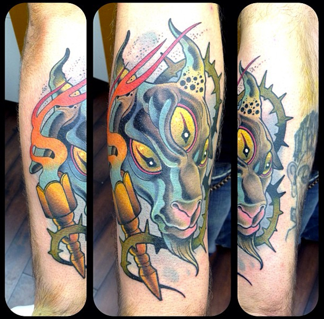 leg tattoo by David Tevenal